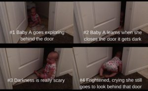 Baby A goes exploringbehind the door w #s